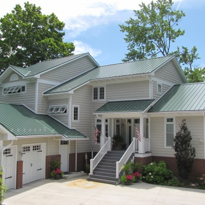 Classic green home coated metals group - Exterior paint colors with green metal roof ...